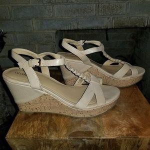Nude & Cork Wedge Sandals